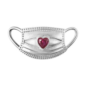 925 Silver Rhodium Plated Ruby Mask Pendant Charm Jewelry Gift For Women