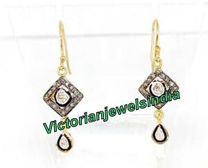 Handcrafted Stylish Rose Cut Polki Victorian Design Earring 925 Silver Earring