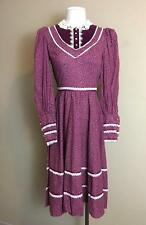 Vintage 1970's Candi Jones California Gunne Sax era burgundy victorian dress M