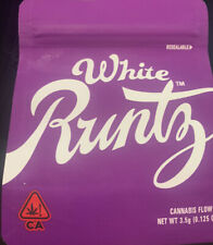 WHITE RUNTZ COOKIES  Mylar Resealable 3.5g Package . 25 Empty packs With Labels