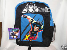 "New With Tags X Men Blue Canvas Backpack With Water Bottle 13"" X 16"""
