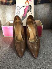 Custom Craft Women's Heels Tan Snakeskin 1960s Size 7.5 W/box
