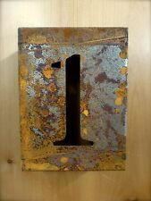 "8"" RUSTY RUSTED INDUSTRIAL METAL BLOCK CUT SIGN NUMBER ONE #1 house address wall"