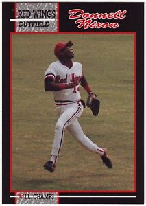 1990 Rochester Red Wings IL Champs Donnell Nixon #8 Team Issue Minor League