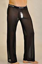 Pantalon pyjama sheer taille M noir totale transparence sexy Ref M02