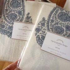 Pottery Barn Set 2 Rayna Drapes Blue 50x 84 Paisley Curtains Pair Bhotah New