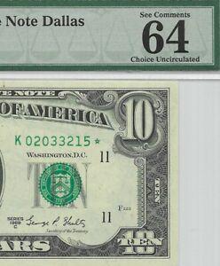1969C $10 DALLAS * STAR * ⭐️ FRN, PMG CHOICE UNCIRCULATED 64 EPQ BANKNOTE, RARE