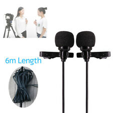 Professional Dual-Headed Lavalier Microphone 6m cable for Apple iPhone Android