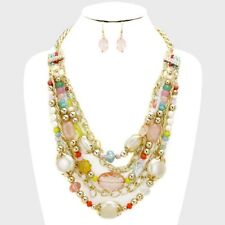 Five Layers Multi color And Cream Bead Gold Tone Link Necklace Earring Set