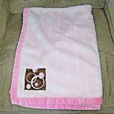 George Light Pink Ribbed Soft Plush Girl Baby Blanket Brown Geomoetric Square