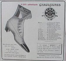 PUBLICITE BISET PARIS CHAUSSURES BOTTE CHEVREAU FEMME DE 1908 FRENCH AD PUB