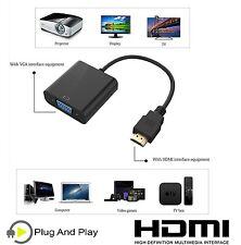Entrada de alta definición Cable de salida HDMI a VGA Convertidor Adaptador Para Portátil PC Tv Monitor UK