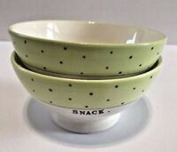 RAE DUNN Green Polka Dot SNACK Bowl Artisan Collection by Magenta Set of 2 PC