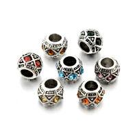 20PC Tibetan Silver Alloy Rhinestone European Beads Large Hole Charms Craft 10mm