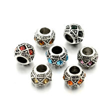 20PC Tibetan Silver Alloy Rhinestone European Beads Large Hole Charms Craft 10mm