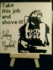 """New listing Past Country Artist Johnny Paycheck Tile 5""""X5""""X1/4"""" With Display Stand"""