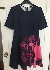 Ted Baker Thabie Navy Pink Oriental Paisley Print Skater Dress Size 4 Uk 14