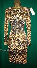 Animal Print Long Sleeve Knee Length Stretch, Bodycon Women's Dresses