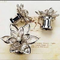 2 Pcs Screw-fix Crystal Flower Ear Tunnel Plugs & Gauges Flesh Piercing&Expander