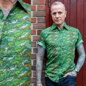 Green Camo Dinosaur Print Shirt by Run and Fly Retro S M L XL XXL XXXL Quirky