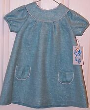 Lvli & Me Dress Holiday Formal Party Wedding Aqua with Silver Size 24 Months