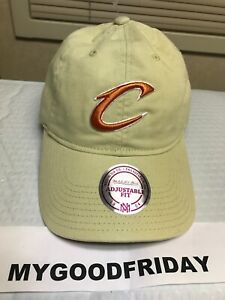 CLEVELAND CAVALIERS DAD HAT beige orange letter c unstructured relaxed ADULT