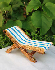 Miniature Dollhouse FAIRY GARDEN ~ White & Blue Resin Beach Lounge Deck Chair