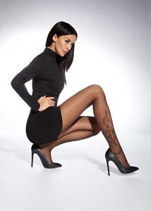 """Sexy Patterned Tights By Adrian """"Arlette""""- Floral Tattoo Pattern"""
