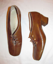 50's Biscayne East beige tortoise patent leather mod shoes 8 Aa 7 New Old Stock