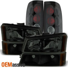 Fit 2003-2006 Chevy Silverado 1500 2500 3500 Black Smoked Headlights+Tail lights