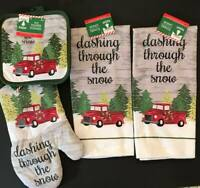 """5pc Red Truck """"Dashing Snow"""" 2 Christmas Kitchen Towels 2 Pot Holders Oven Mitt"""