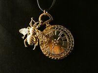 Biene Uhr mit Kette 24 Karat Vergoldet Charm Imme Honeybee Honigbiene Time