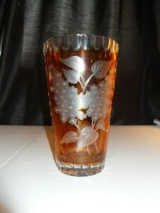 Stunning Lead Crystal, cut glass vase Amber glass panels. very unusual 20cm Tall
