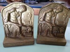Vtg. CAST IRON BOOKENDS IRON WORKER / NORTHERN MALLIBLE CO. ST PAUL, MN. 1940's