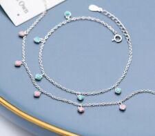 "Girl / Women Pure 925 Sterling Silver Dangle Heart Love Chain Hand Bracelet 6-7"""
