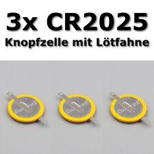 🔋 3 X CR2025 3V Batterie mit Lötfahnen Knopfzelle Tabs Gameboy Spiele Pokemon