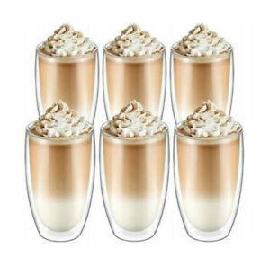 6x450ml Doppelwandige Thermo Gläser Latte Macchiato Cocktail Kaffee Tee Becher