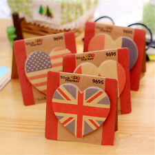 British Canada U.S.A France Flag Heart Shaped Sticky Notes Marker Memo Sticker