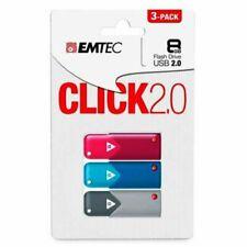 Clé USB Emtec Click 8Go lot de 3 clefs USB 8 Go USB 2.0