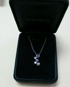 Tiffany & Co Platinum Diamond and Sapphire Bubbles Pendant Necklace