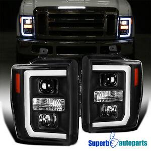 For 2008-2010 Ford F250 F350 F450 Super Duty Black Projector Headlight LED Strip