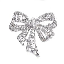 Chic Rhinestone Bow Style Brooches Women Silver Big Bowknot Alloy Brooch Pin Hot