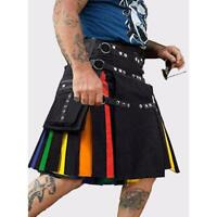 "Scottish Rainbow Kilt Custom Pride Utility Hybrid Kilts For Men Size (28 to 60"")"