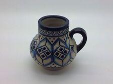 Javier SERVIN Pottery Stoneware Handled Vase Turquoise Plum Pink Cobalt MEXICO