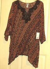WOMENS CATHERINES 4X TOP SHIRT BROWNS MULTI FLOWY NWT GORGEOUS 3/4 SLEEVES 30 32