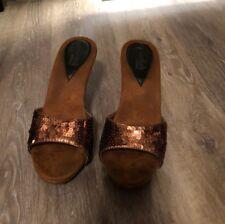 Vintage Candies 1980's Style Sandals High Heels Slides Sexy Copper Sequin Sz 8.5