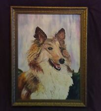 """FINE 1947 OLD OIL ON CANVAS BOARD PAINTING COLLIE DOG Vtq Atq oil dog signed""""AH"""""""
