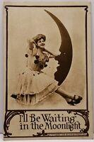 I'll Be Waiting in the Moonlight Lady Moon, Bagley Minn Douglas 1910 Postcard D9