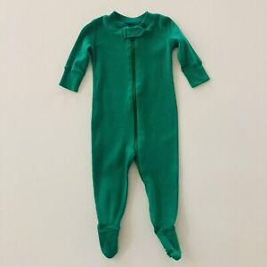 Hanna Andersson 50 Baby Boy Pajamas Footie Organic Cotton Zip Green