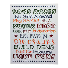 Boys Rules White Wooden Bedroom Wall Door Sign – Room Décor Childrens Boy's